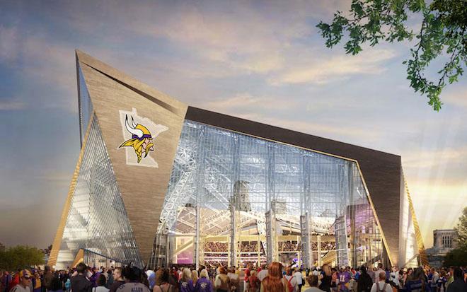 Exterior of the planned Minnesota Stadium. Courtesy Minnesota Vikings.