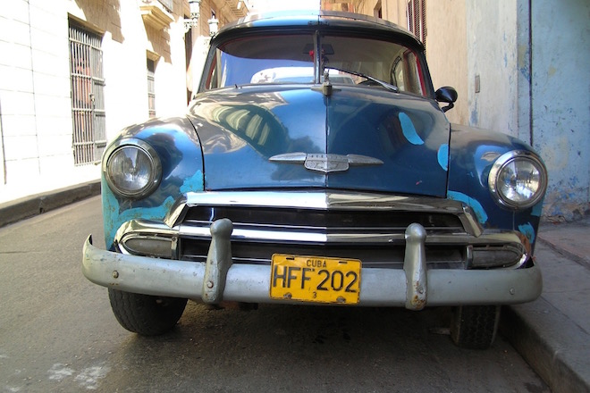 A vintage car in Havana, Cuba, January 2006, photo by Chuck Hagner.