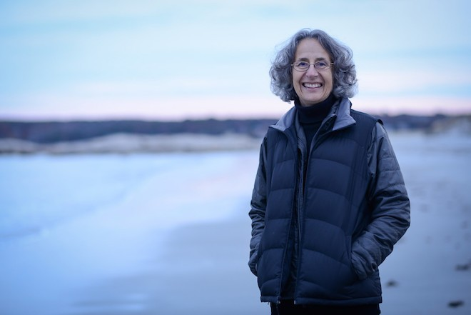 Deborah Cramer, author of The Narrow Edge, at Wingersheek Beach, Gloucester, Massachusetts. Photo by Shawn G Henry.