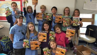 Burroughs Birding Club leader Amy Simso Dean with fourth-grade birders in Minneapolis, Minnesota.