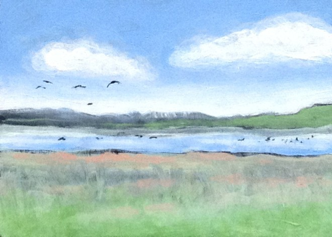 Painting of Buena Vista Ponds at Malheur. © Rakar West. Used by permission.
