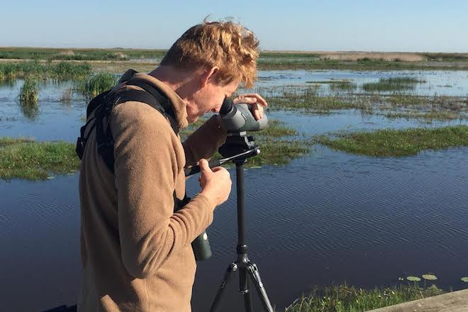 Big Year birder John Weigel on the Texas coast in early April 2016.