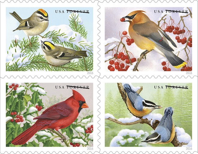 Songbird stamps from the U.S. Postal Service feature Golden-crowned Kinglets, Cedar Waxwing, Red-breasted Nuthatches, and Northern Cardinal.