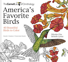 One of the best coloring books: America's Favorite Birds: 40 Beautiful Birds to Color, by Miyoko Chu and Brenda Lyons.