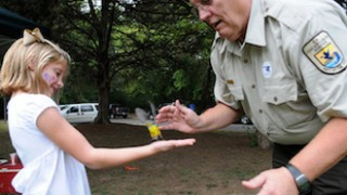 Bird banding. Photo courtesy of U.S. Fish & Wildlife Service, Wheeler National Wildlife Refuge.