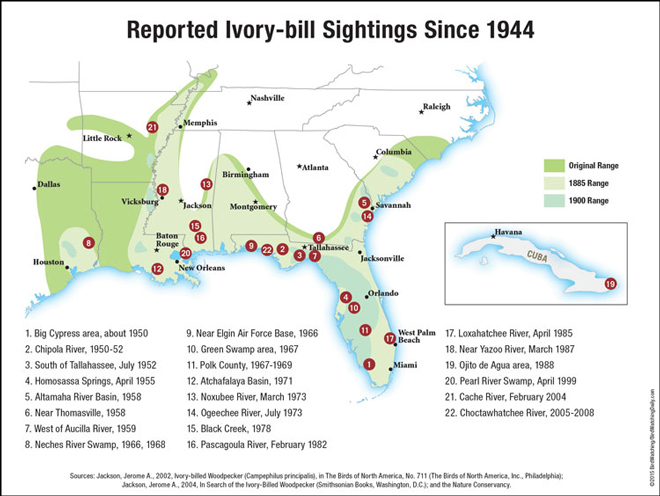 Historic ranges and 22 reported sightings of Ivory-billed Woodpeckers since 1944