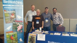 Editor Chuck Hagner, Chip Bauer, Publisher Lee Mergner, and Mike Echevarria of BirdWatching Magazine at the Cape May Autumn Birding Festival, Cape May, New Jersey, October 2016.