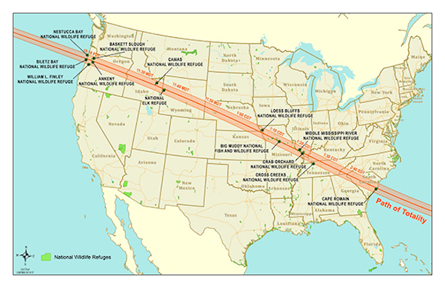 Refuges in the path of the August 21 eclipse. Map by Liz Cruz/U.S. FWS