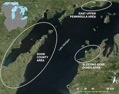 This map shows the locations around Lake Michigan where the research took place.