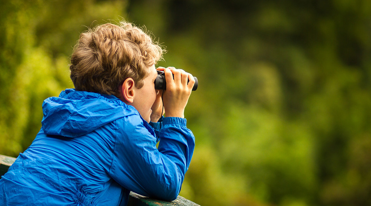 A child birdwatching