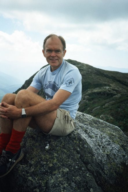 Dave Richie sits on a rock along the Appalachian Trail